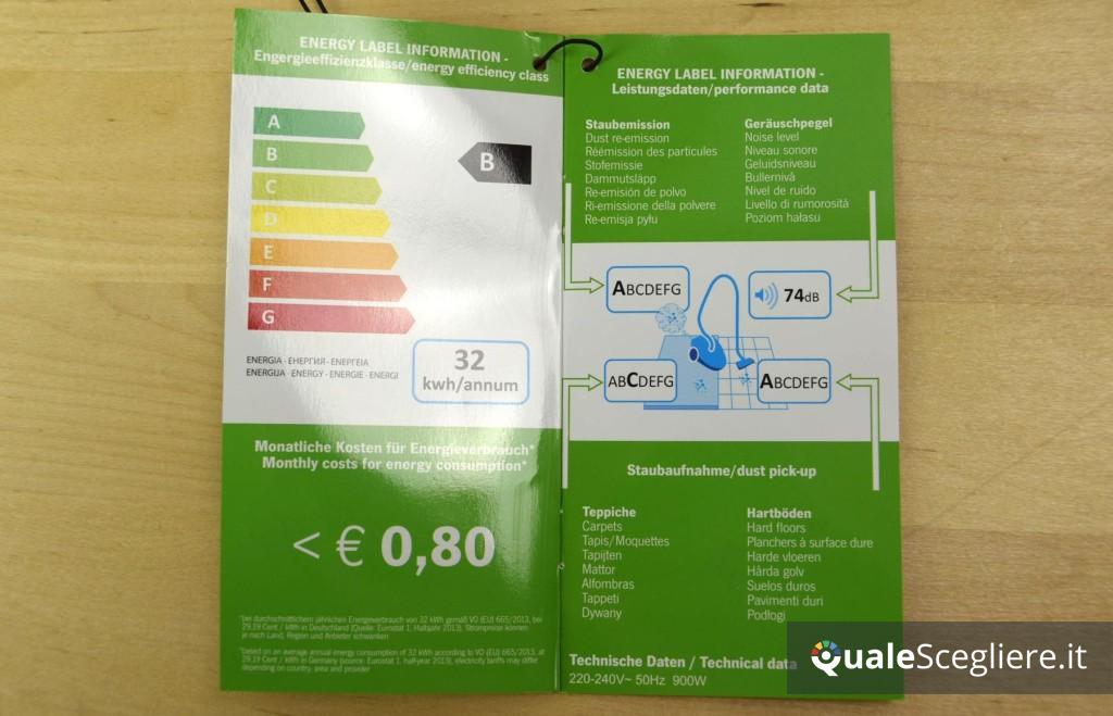 Etichetta energetica europea aspirapolvere