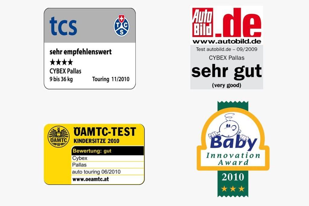 Cybex Pallas certificazioni e riconoscimenti