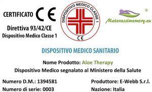 Materassimemory.eu Aloe Therpay certificazione dispositivo medico sanitario
