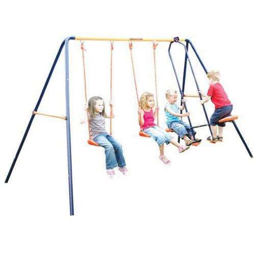 Altalena per Bambini da Esterno Giardino Legno Gioco all/'Aperto Dondolo 2 Posti